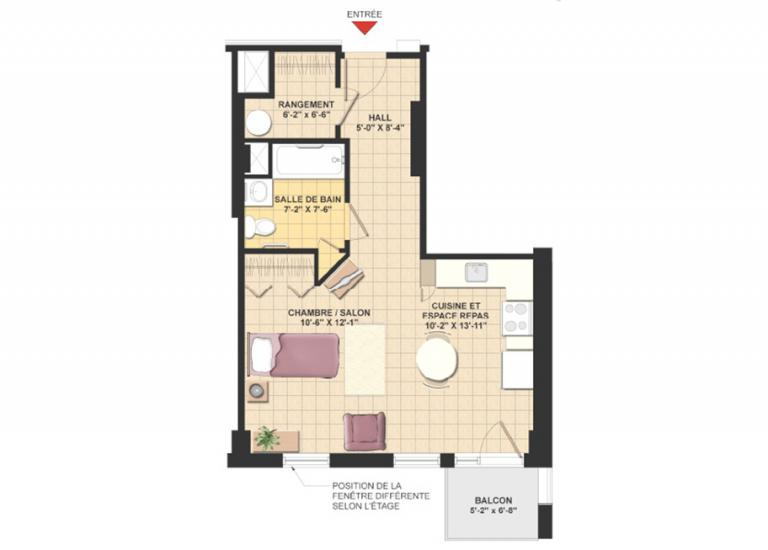 Plan appartement 1 1/2 - Résidence Le Mile-End