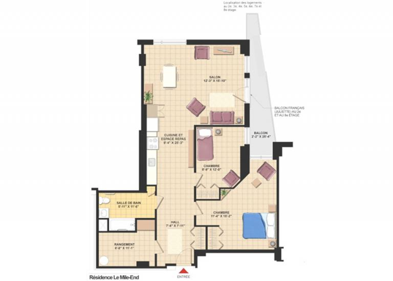 Plan appartement 4 1/2 - Résidence Le Mile-End