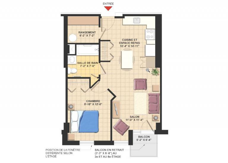 Plan appartement 3 1/2 - Résidence Le Mile-End