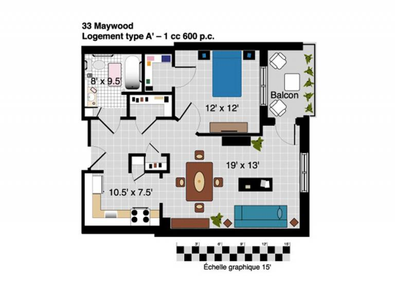 Plan appartement 3 1/2 Résidence Maywood