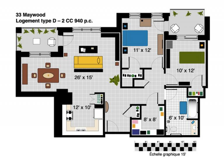 Plan appartement 4 1/2 à Maywood